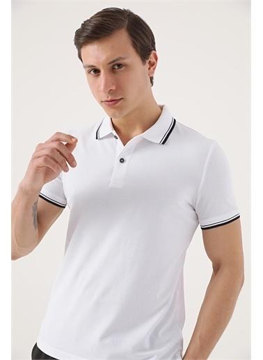 TWN Twn Slim Fit Vizon Pike Dokulu T-Shirt Beyaz